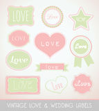 Vintage love and wedding labels Royalty Free Stock Photo