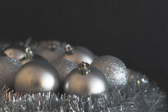 Vintage low contrast photo of shiny and bright silver christmas Royalty Free Stock Photo