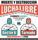 Vintage Lucha Libre Ticket stock de ilustración