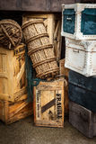 Vintage luggage. Bags, crates, boxes, suitcases Royalty Free Stock Photo