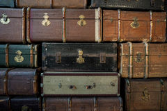 Vintage luggage. Detail of various vintage luggage stock photos