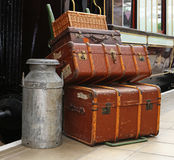 Vintage Luggage on a Railway Platform Royalty Free Stock Images