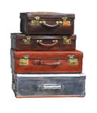 Vintage Luggage. Stacked Vintage Suitcases Isolated Included Clipping Path Royalty Free Stock Photos