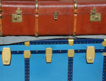 Vintage luggage and a suitcase in leather for travelers Stock Photography