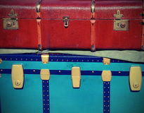 Vintage luggage and a suitcase in leather for travelers Royalty Free Stock Photos