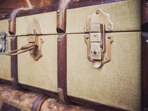 Vintage Luggage Suitcase open lock Nostalgia travel Stock Photos