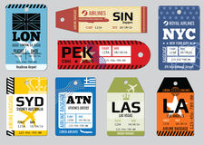 Vintage luggage tags, travel labels vector set Stock Images