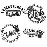 Vintage lumberjack emblems Stock Photo
