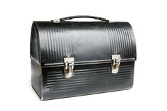 Vintage Lunch Box. Painted black with silver latches Royalty Free Stock Photo