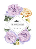 Vintage and luxurious floral  greeting card with flowers in garden Royalty Free Stock Photo