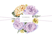 Vintage and luxurious floral  greeting card with flowers in garden Royalty Free Stock Photography