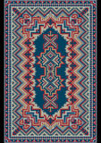 Vintage luxurious oriental carpet in red and blue shades. Vintage luxurious oriental carpet in the delicate  pastel  shades stock illustration
