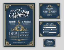 Vintage luxurious wedding invitation on chalkboard background royalty free illustration