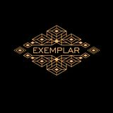 Vintage Luxury Antique Art Deco Monochrome Gold Flourishes Monogram. Ornamental Emblem. Template logo Royalty Free Stock Photos