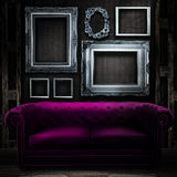 Vintage luxury armchair and frame Royalty Free Stock Photos