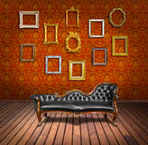Vintage luxury armchair and frame. In  room Stock Photography