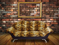 Vintage luxury armchair, frame in room Stock Photo