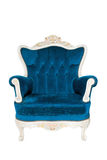 Vintage luxury Blue Armchair isolated. Vintage luxury Blue sofa Armchair isolated on white background with Clipping path Royalty Free Stock Photos