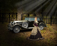 Vintage Luxury Car, Wealthy Lady Stock Photos