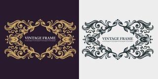 Vintage luxury emblem. Calligraphic elegant line art logo design. Decorative floral pattern. Gold graceful frame. Monogram. vector illustration
