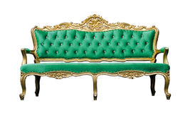 Vintage luxury emerald sofa Armchair isolated on white Royalty Free Stock Photography