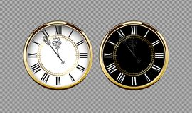 Vintage luxury golden wall clock with roman numbers isolated on transparent background. Realistic black and white round clock-face. Dial. Glossy gold frame ring stock illustration