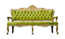 Vintage luxury Green sofa Armchair isolated on white Stock Photography