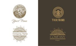 Vintage logo set. Natural luxury abstract ornament for yoga or cosmetics company vector illustration