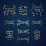 Vintage luxury logo template set with flourishes. Elegant lines. A set of signs, badges, frame, border, emblems with swirls. Vector vector illustration