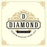 Vintage Luxury Monogram Logo Template royalty free illustration