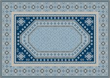 Luxury oriental carpet in bluish tones with patterns of navy blue, beige and yellow color. Vintage luxury oriental carpet in bluish tones with patterns of navy vector illustration