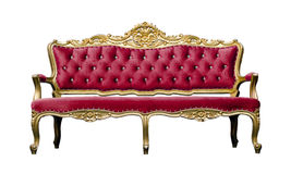 Vintage luxury red sofa Armchair isolated on white Stock Photography