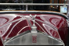 Vintage Luxury Rolls Royce 1928 20HP Car front grill royalty free stock photo