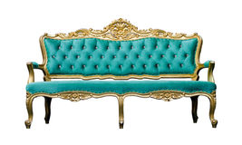 Vintage luxury turquoise sofa Armchair isolated on white Royalty Free Stock Photos