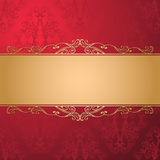 Vintage luxury vector background. Golden decorated ribbon on red seamless damask pattern. Template for your design. EPS 10 vector illustration