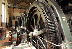 Vintage machinery. Ancient big energy generators, constructed to produce electricity Royalty Free Stock Image