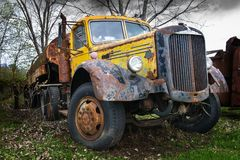 Vintage Mack Semi Trailer Truck Tanker Stock Photo