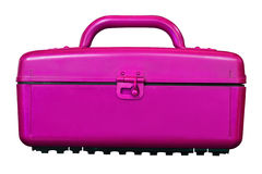 Vintage magenta cooler plastic boxes on white Stock Photography