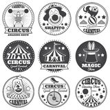 Vintage magic circus labels. Holiday show carnival vector badges and logos Stock Images