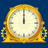 Vintage magic clock. Vintage magic victorian gold clock with gears, This illustration is saved in EPS10 with color space in RGB Royalty Free Stock Photo
