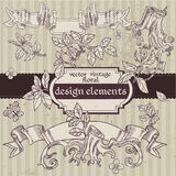 Vintage magic fairytale floral design elements Royalty Free Stock Photography