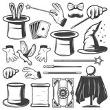 Vintage Magic Illusion Elements Collection. With hats ball rabbit pigeon gloves scroll paper box wands cards mustache isolated vector illustration Stock Photos