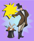 Vintage magician with rabbit in hat Stock Photos