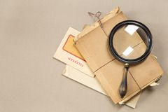 Vintage magnifying glass royalty free stock photos