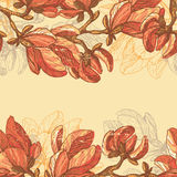 Vintage magnolia flowers horizontal seamless border Stock Image