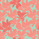 Vintage magnolia flowers seamless pattern. Seamless vector pattern with magnolia on green background Royalty Free Stock Image