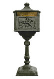 Vintage Mail Box. Vintage cast iron mail box in black with brass plate on white Stock Images