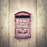 Vintage Mail Box on Stone Wall Stock Photography