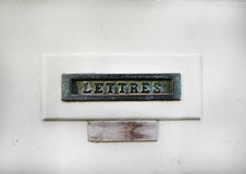Vintage mail slot in a white door Royalty Free Stock Photo