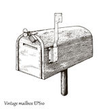 Vintage mailbox hand drawing engraving style. Isolated on white background Royalty Free Stock Photos